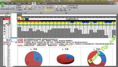 Excel 问卷调查DIY设置及数据统计 图表模型通用模板 统计,动态图